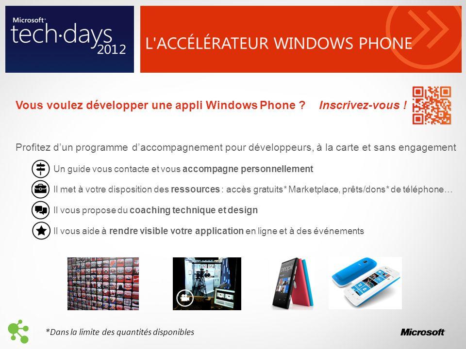 Vous voulez développer une appli Windows Phone ? Inscrivez-vous ! Profitez dun programme daccompagnement pour développeurs, à la carte et sans engagem