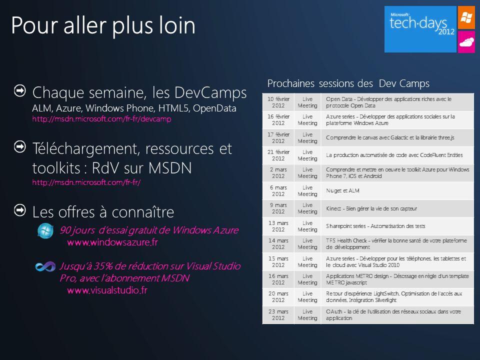 Chaque semaine, les DevCamps ALM, Azure, Windows Phone, HTML5, OpenData http://msdn.microsoft.com/fr-fr/devcamp Téléchargement, ressources et toolkits