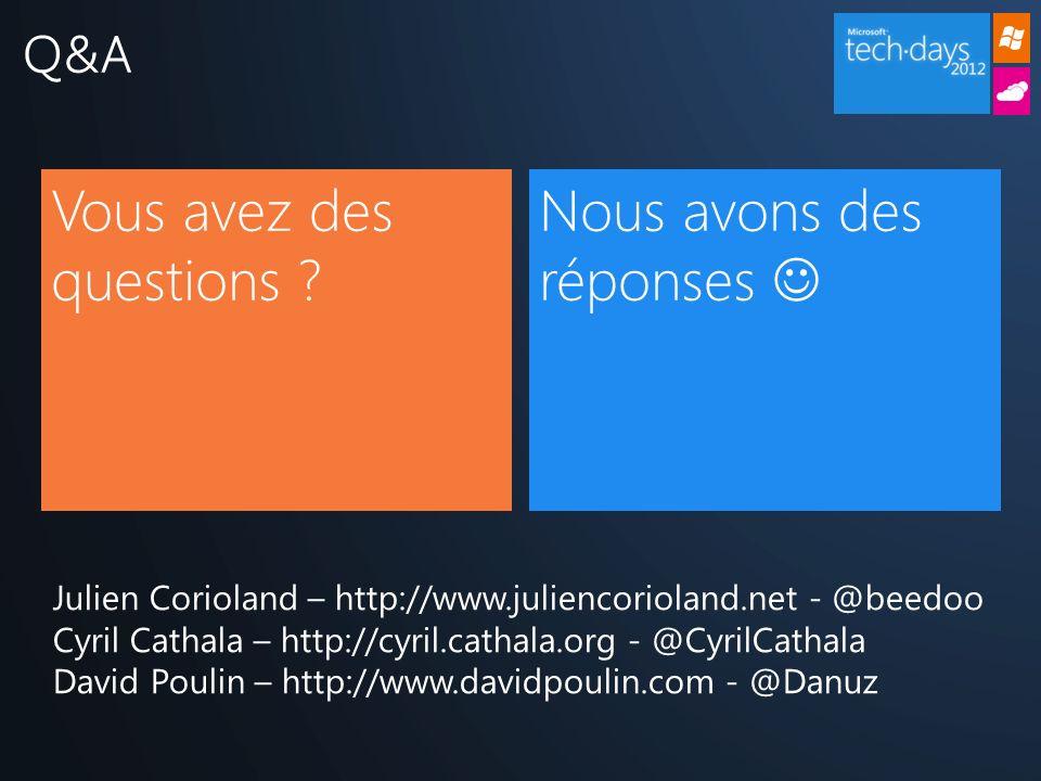 Q&A Vous avez des questions ? Nous avons des réponses Julien Corioland – http://www.juliencorioland.net - @beedoo Cyril Cathala – http://cyril.cathala