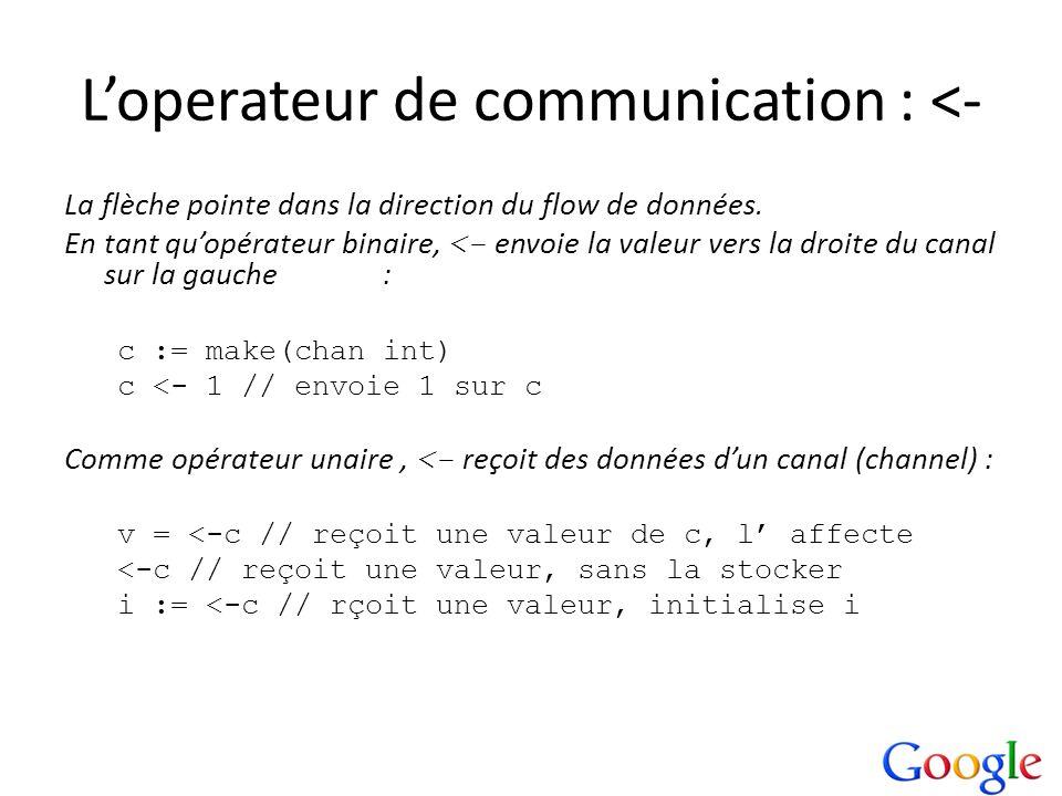 Loperateur de communication : <- La flèche pointe dans la direction du flow de données. En tant quopérateur binaire, <- envoie la valeur vers la droit