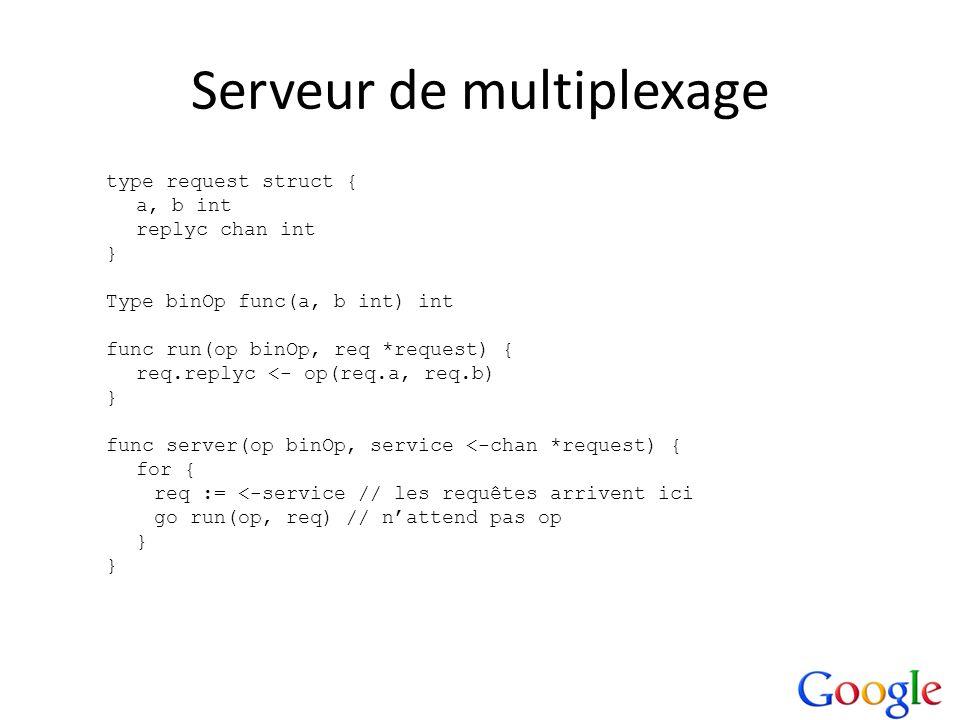 Serveur de multiplexage type request struct { a, b int replyc chan int } Type binOp func(a, b int) int func run(op binOp, req *request) { req.replyc <