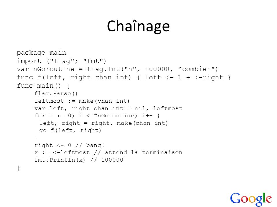 Chaînage package main import (