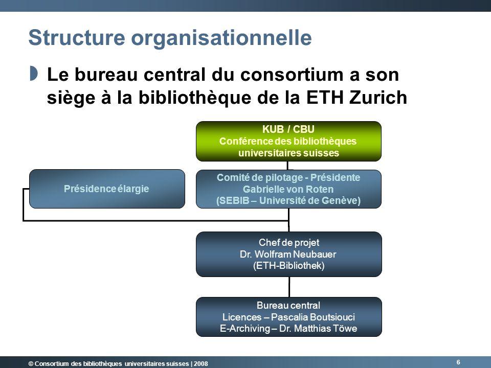 6 Structure organisationnelle KUB / CBU Conférence des bibliothèques universitaires suisses Comité de pilotage - Présidente Gabrielle von Roten (SEBIB – Université de Genève) Chef de projet Dr.