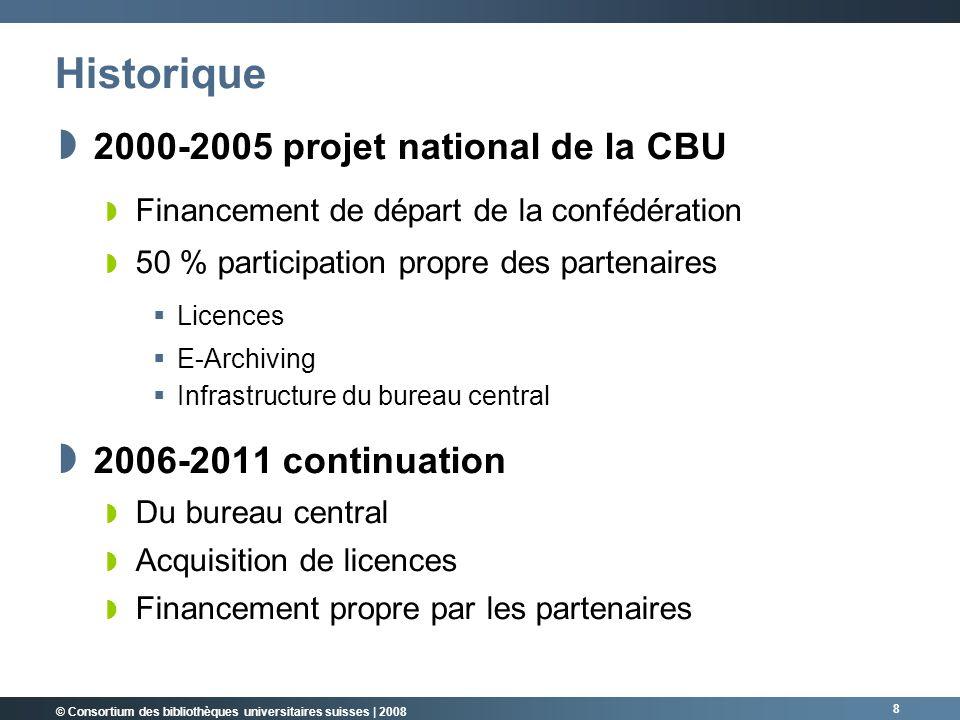 © Consortium des bibliothèques universitaires suisses | 2008 9 Partenaires du consortium