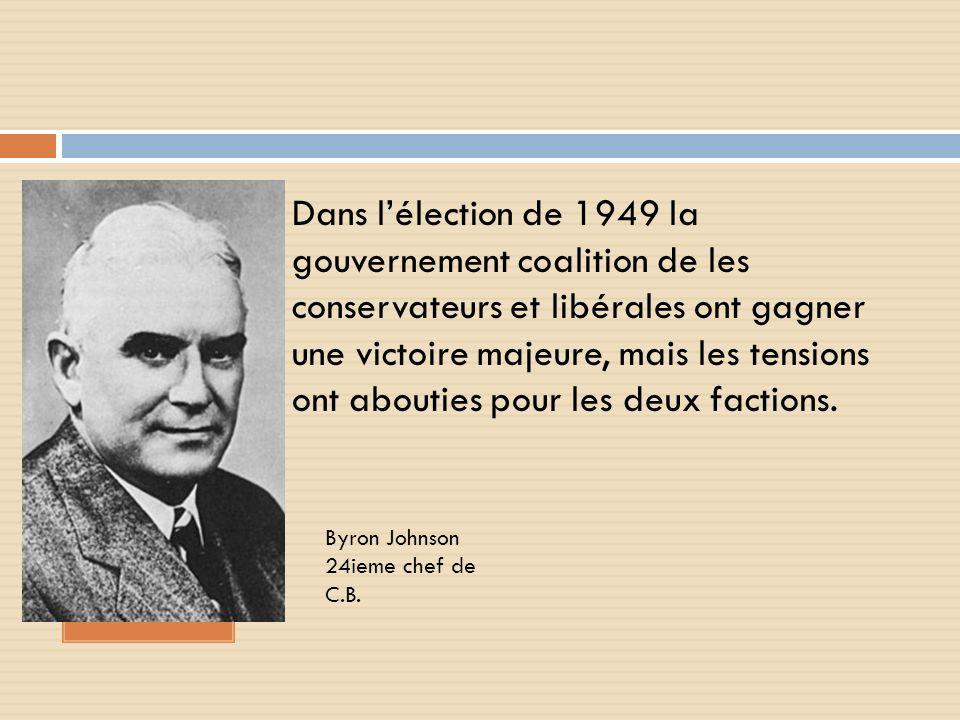 Dans lélection de 1949 la gouvernement coalition de les conservateurs et libérales ont gagner une victoire majeure, mais les tensions ont abouties pour les deux factions.