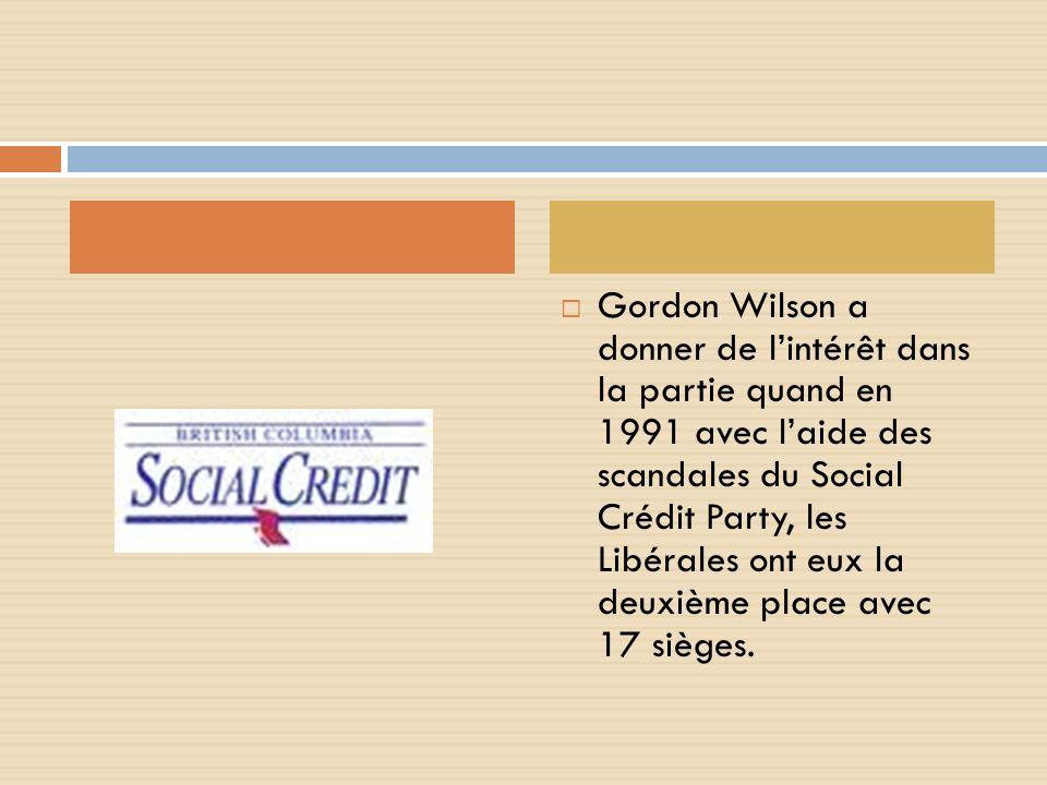 Gordon Wilson a donner de lintérêt dans la partie quand en 1991 avec laide des scandales du Social Crédit Party, les Libérales ont eux la deuxième place avec 17 sièges.