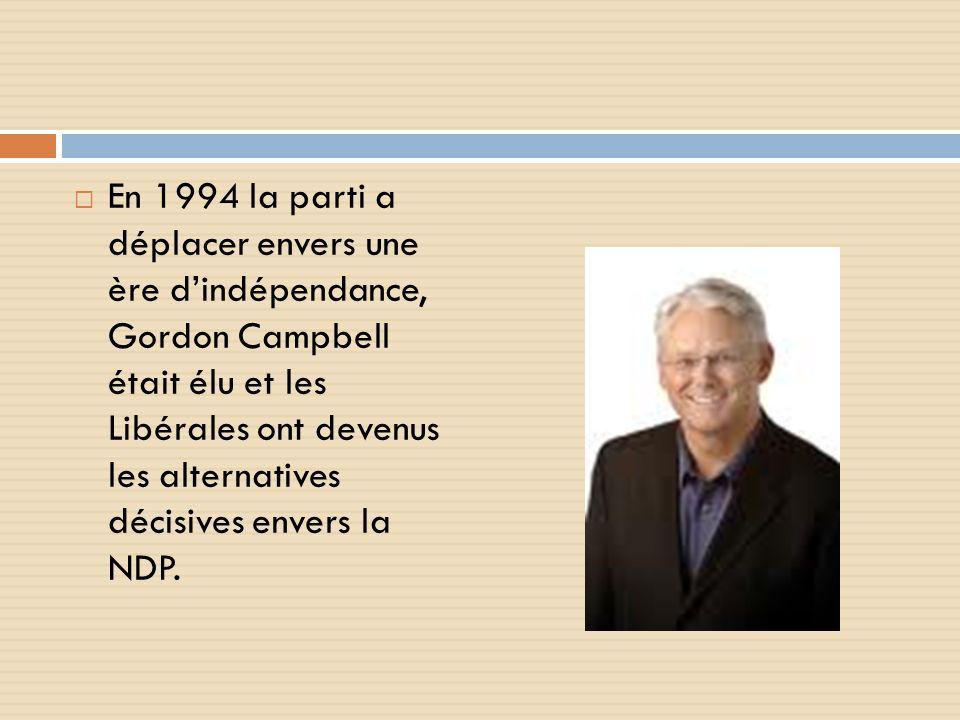 En 1994 la parti a déplacer envers une ère dindépendance, Gordon Campbell était élu et les Libérales ont devenus les alternatives décisives envers la NDP.