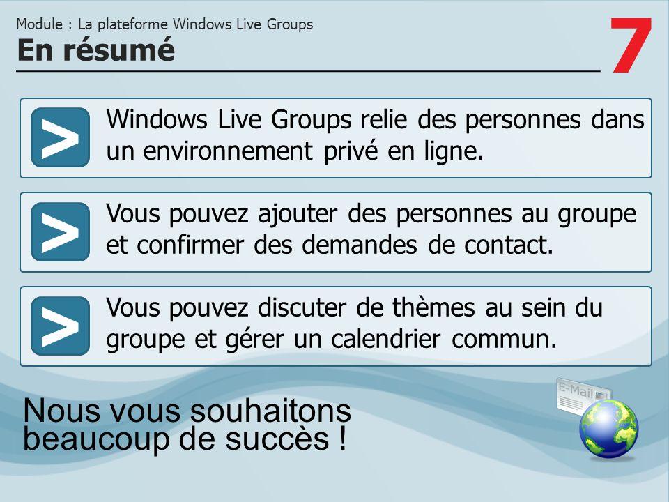 7 >>> Windows Live Groups relie des personnes dans un environnement privé en ligne.