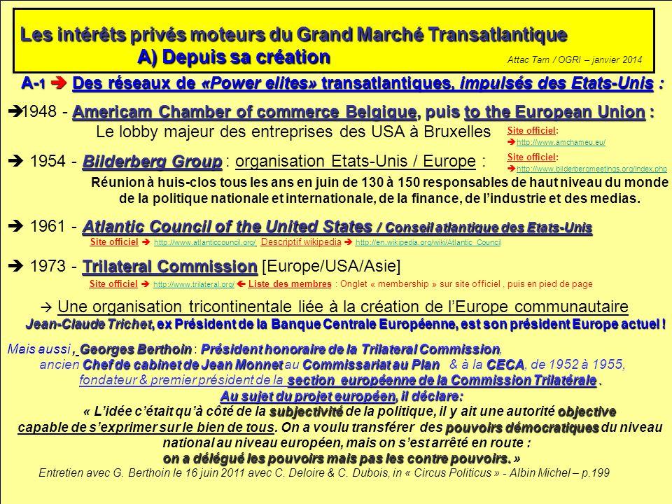 A- 1 Des réseaux de «Power elites» transatlantiques, impulsés des Etats-Unis : Americam Chamber of commerce Belgique, puis to the European Union : 194