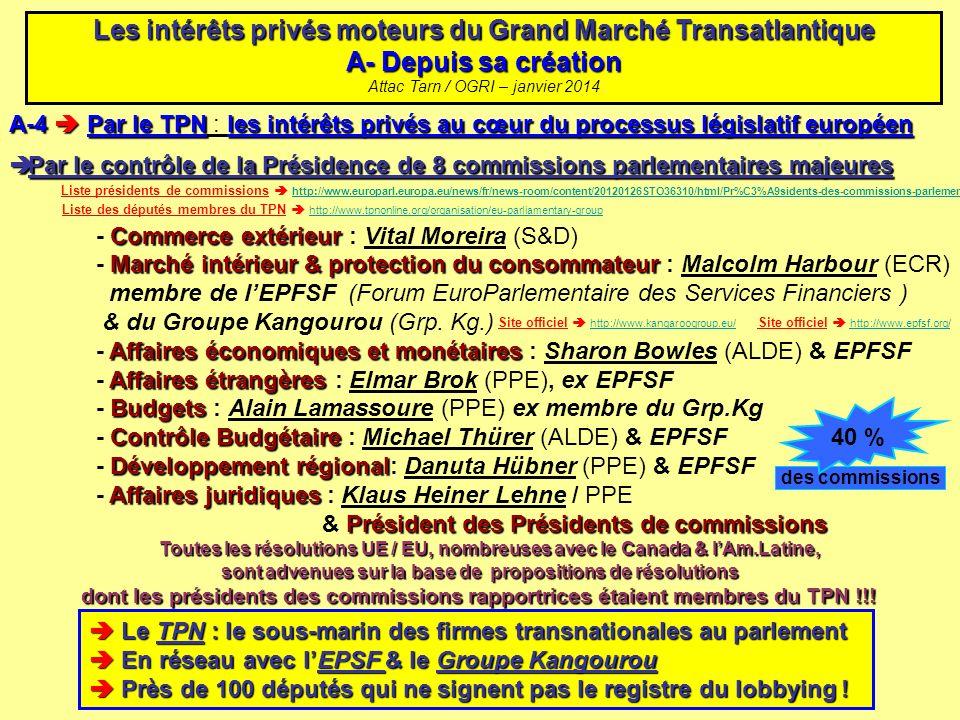 A-4 Par le TPNles intérêts privés au cœur du processus législatif européen A-4 Par le TPN : les intérêts privés au cœur du processus législatif europé