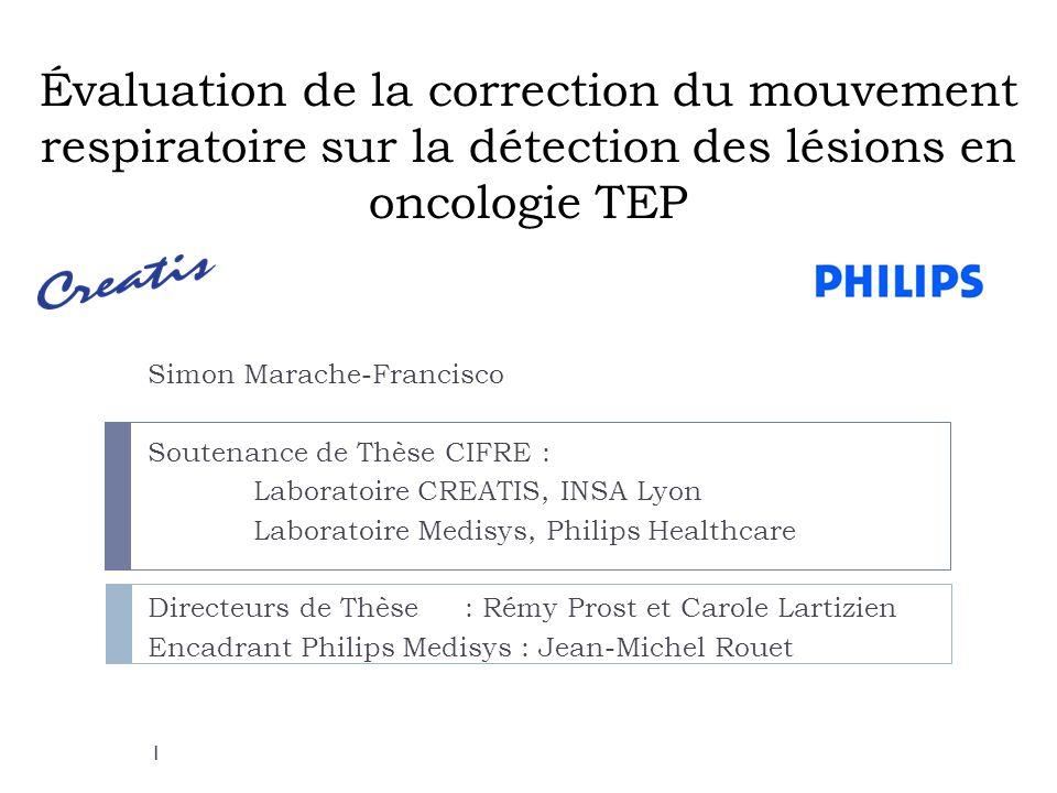 Évaluation de la correction du mouvement respiratoire sur la détection des lésions en oncologie TEP Simon Marache-Francisco Soutenance de Thèse CIFRE