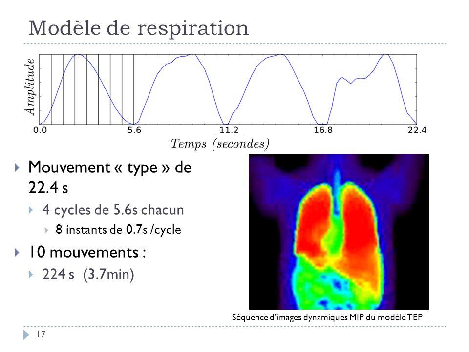 Modèle de respiration 17 Mouvement « type » de 22.4 s 4 cycles de 5.6s chacun 8 instants de 0.7s /cycle 10 mouvements : 224 s (3.7min) Séquence dimages dynamiques MIP du modèle TEP