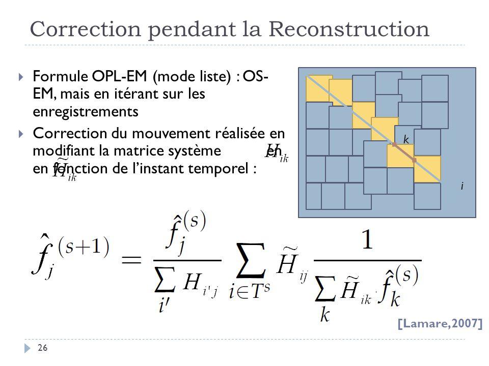 Correction pendant la Reconstruction 26 Formule OPL-EM (mode liste) : OS- EM, mais en itérant sur les enregistrements Correction du mouvement réalisée en modifiant la matrice système en en fonction de linstant temporel : [Lamare,2007] i k
