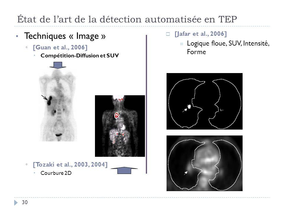 État de lart de la détection automatisée en TEP 30 Techniques « Image » [Guan et al., 2006] Compétition-Diffusion et SUV [Tozaki et al., 2003, 2004] Courbure 2D [Jafar et al., 2006] Logique floue, SUV, Intensité, Forme