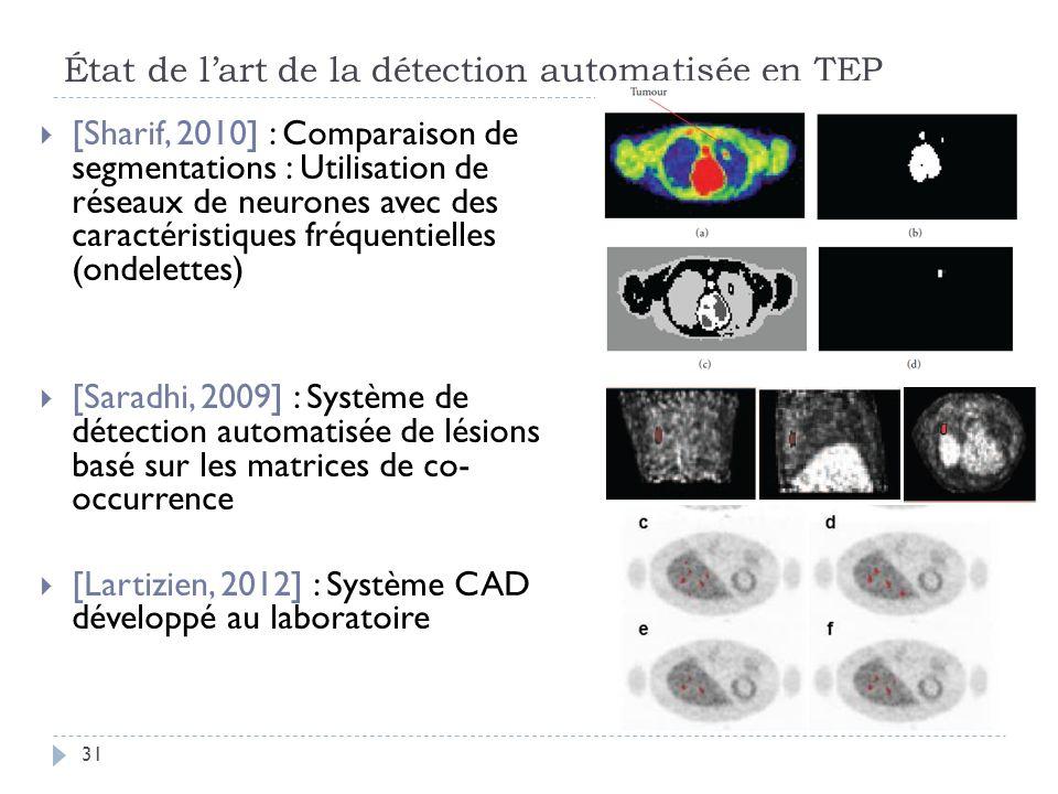 État de lart de la détection automatisée en TEP 31 [Sharif, 2010] : Comparaison de segmentations : Utilisation de réseaux de neurones avec des caractéristiques fréquentielles (ondelettes) [Saradhi, 2009] : Système de détection automatisée de lésions basé sur les matrices de co- occurrence [Lartizien, 2012] : Système CAD développé au laboratoire