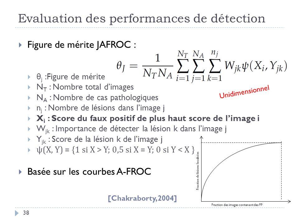 Evaluation des performances de détection 38 Figure de mérite JAFROC : θ j :Figure de mérite N T : Nombre total dimages N A : Nombre de cas pathologiqu