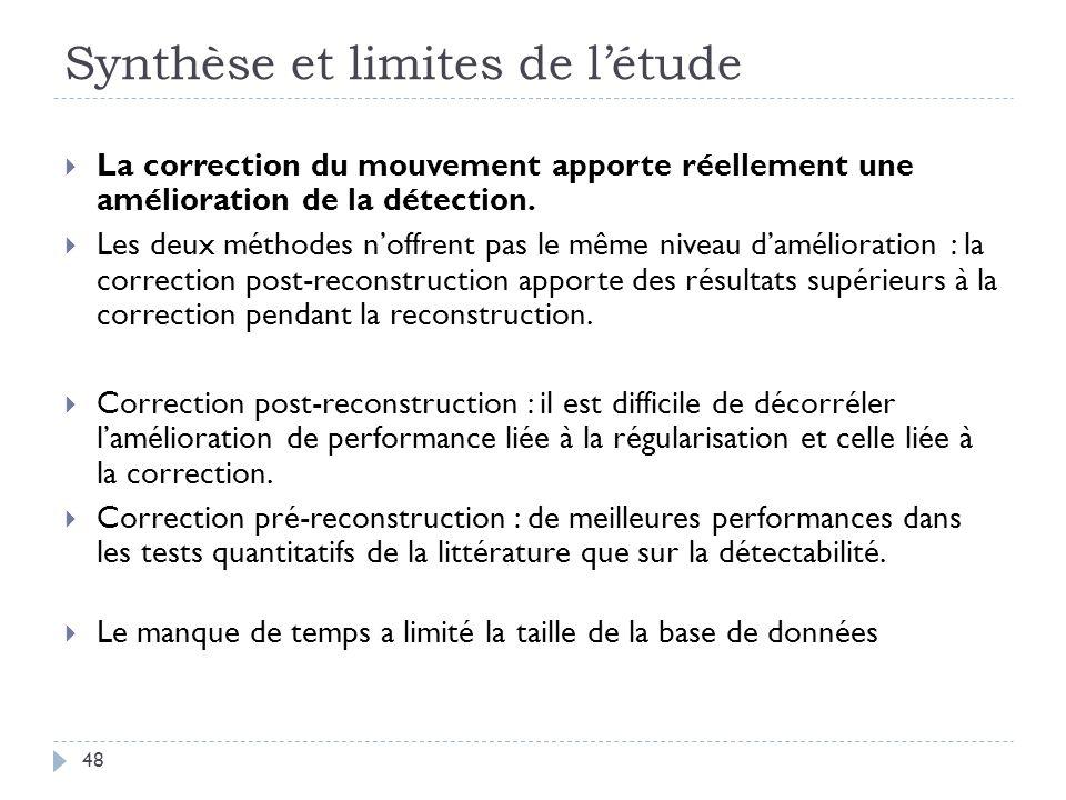 Synthèse et limites de létude 48 La correction du mouvement apporte réellement une amélioration de la détection. Les deux méthodes noffrent pas le mêm