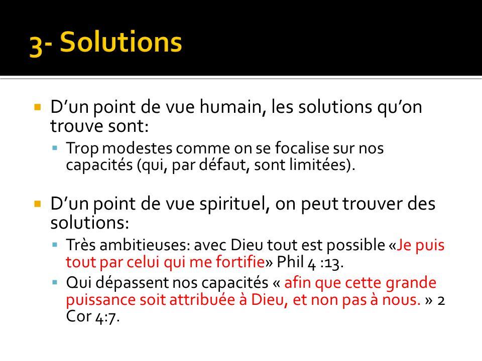 Dun point de vue humain, les solutions quon trouve sont: Trop modestes comme on se focalise sur nos capacités (qui, par défaut, sont limitées).