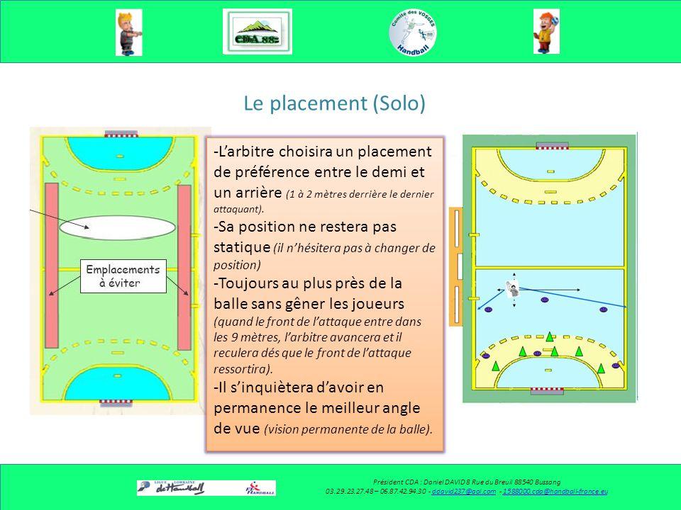 Le placement (Solo) Président CDA : Daniel DAVID 8 Rue du Breuil 88540 Bussang 03.29.23.27.48 – 06.87.42.94.30 - ddavid237@aol.com - 1588000.cda@handball-france.euddavid237@aol.com1588000.cda@handball-france.eu