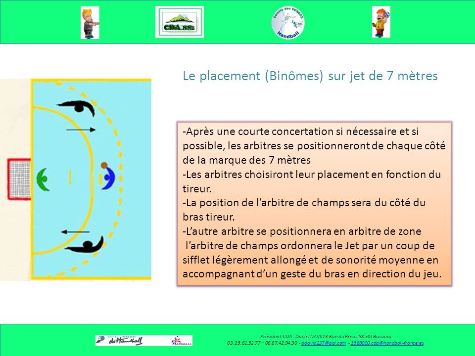 Le placement (Binômes) -Les arbitres choisiront un placement en diagonale.