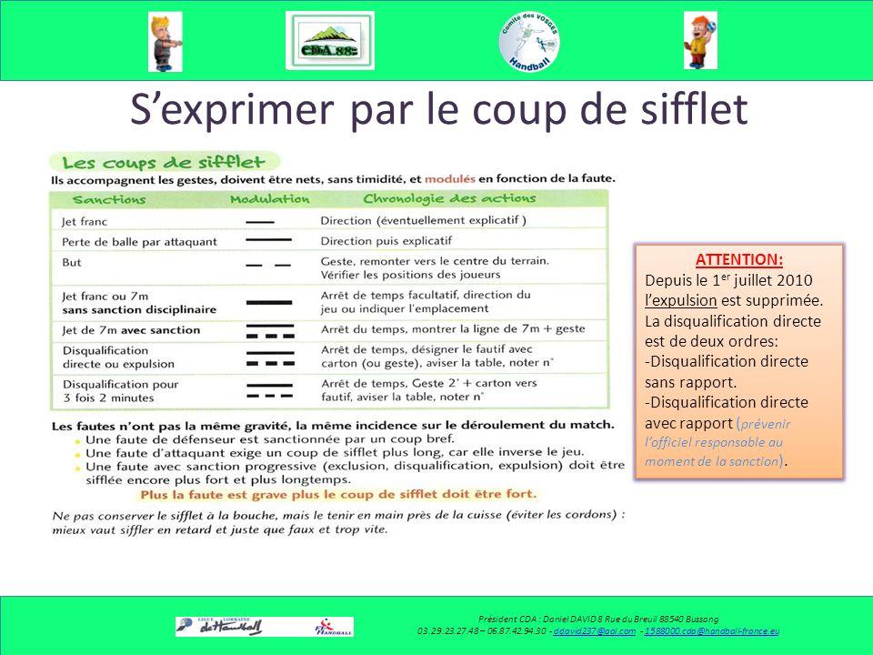 Sexprimer Par le coup de sifflet Par le geste Par le coup de sifflet Par le geste Président CDA : Daniel DAVID 8 Rue du Breuil 88540 Bussang 03.29.23.27.48 – 06.87.42.94.30 - ddavid237@aol.com - 1588000.cda@handball-france.euddavid237@aol.com1588000.cda@handball-france.eu