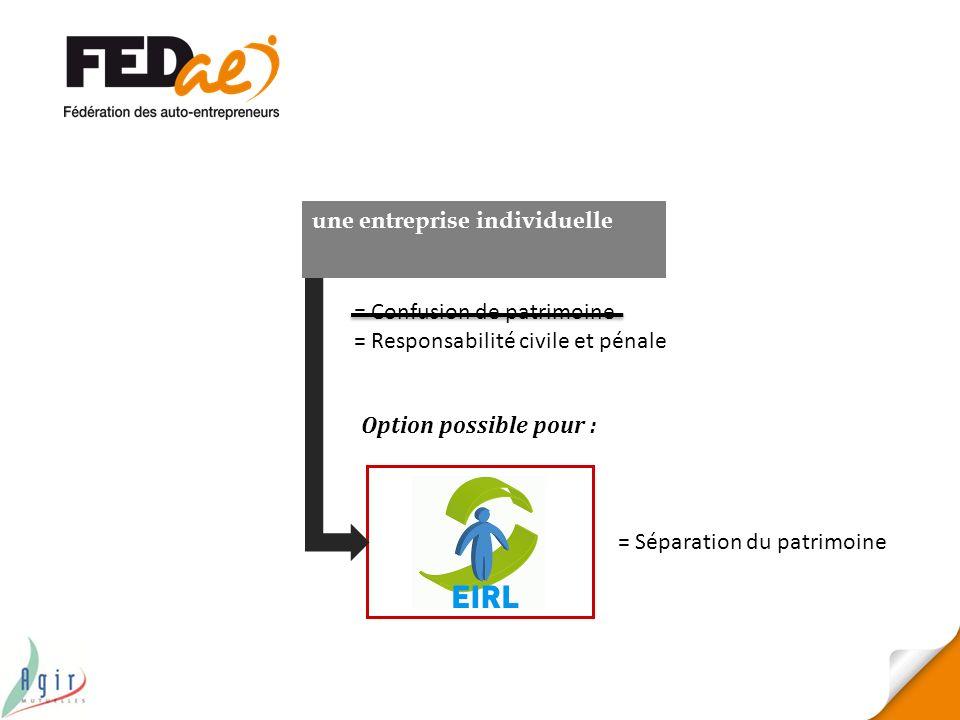 Option possible pour : une entreprise individuelle = Confusion de patrimoine = Responsabilité civile et pénale = Séparation du patrimoine