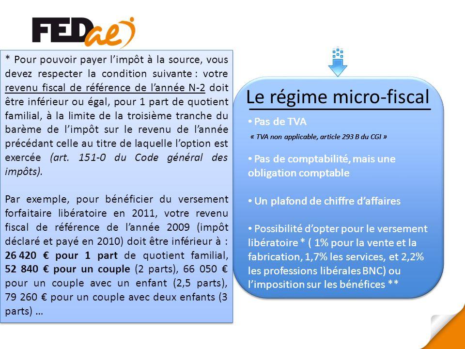 Le régime micro-fiscal Pas de TVA « TVA non applicable, article 293 B du CGI » * Pour pouvoir payer limpôt à la source, vous devez respecter la condit