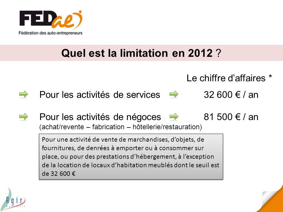 Quel est la limitation en 2012 ? Pour les activités de services Pour les activités de négoces (achat/revente – fabrication – hôtellerie/restauration)