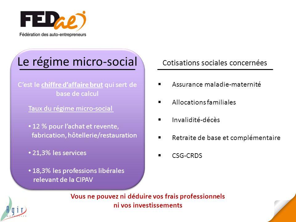 Le régime micro-social Cotisations sociales concernées Assurance maladie-maternité Allocations familiales Invalidité-décès Retraite de base et complém