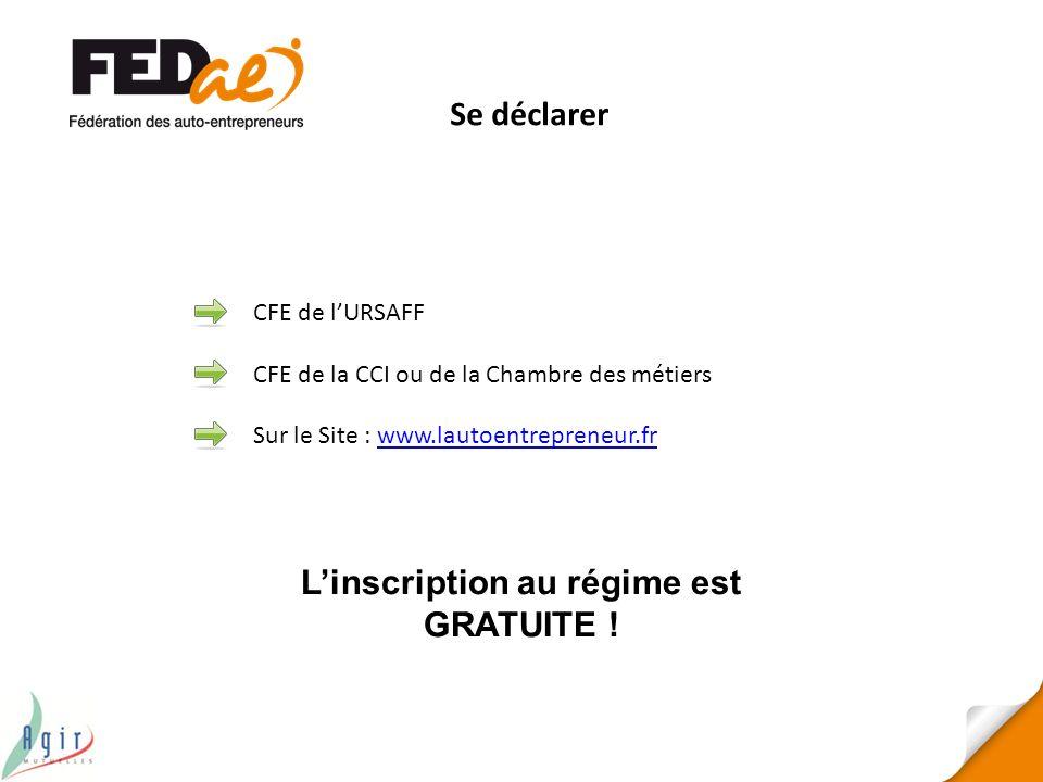 Linscription au régime est GRATUITE ! CFE de lURSAFF CFE de la CCI ou de la Chambre des métiers Sur le Site : www.lautoentrepreneur.frwww.lautoentrepr