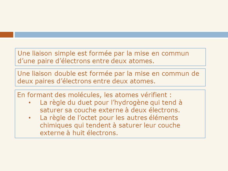 Une liaison simple est formée par la mise en commun dune paire délectrons entre deux atomes. Une liaison double est formée par la mise en commun de de