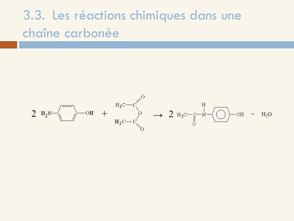 3.3.Les réactions chimiques dans une chaîne carbonée + H 2 O + 2 2