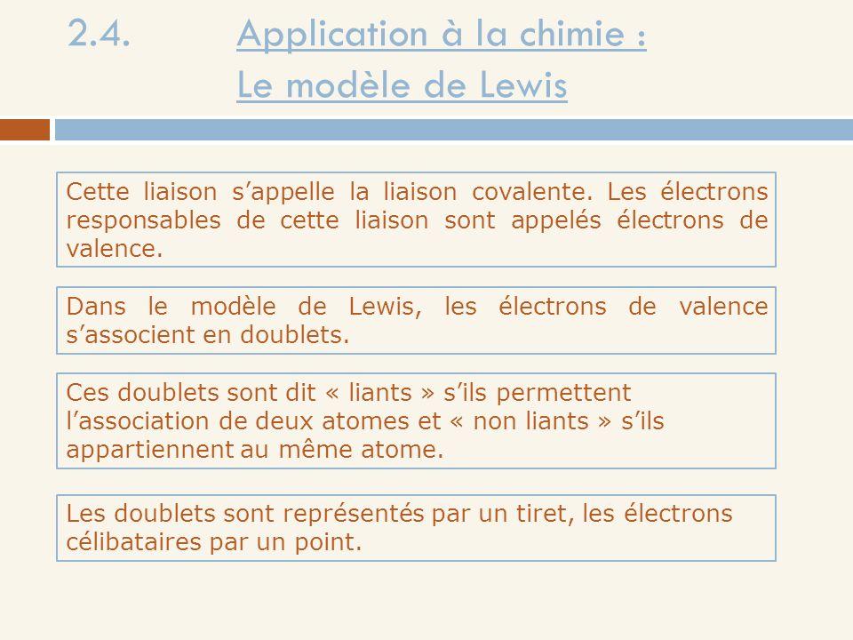 2.4. Application à la chimie : Le modèle de Lewis Cette liaison sappelle la liaison covalente. Les électrons responsables de cette liaison sont appelé