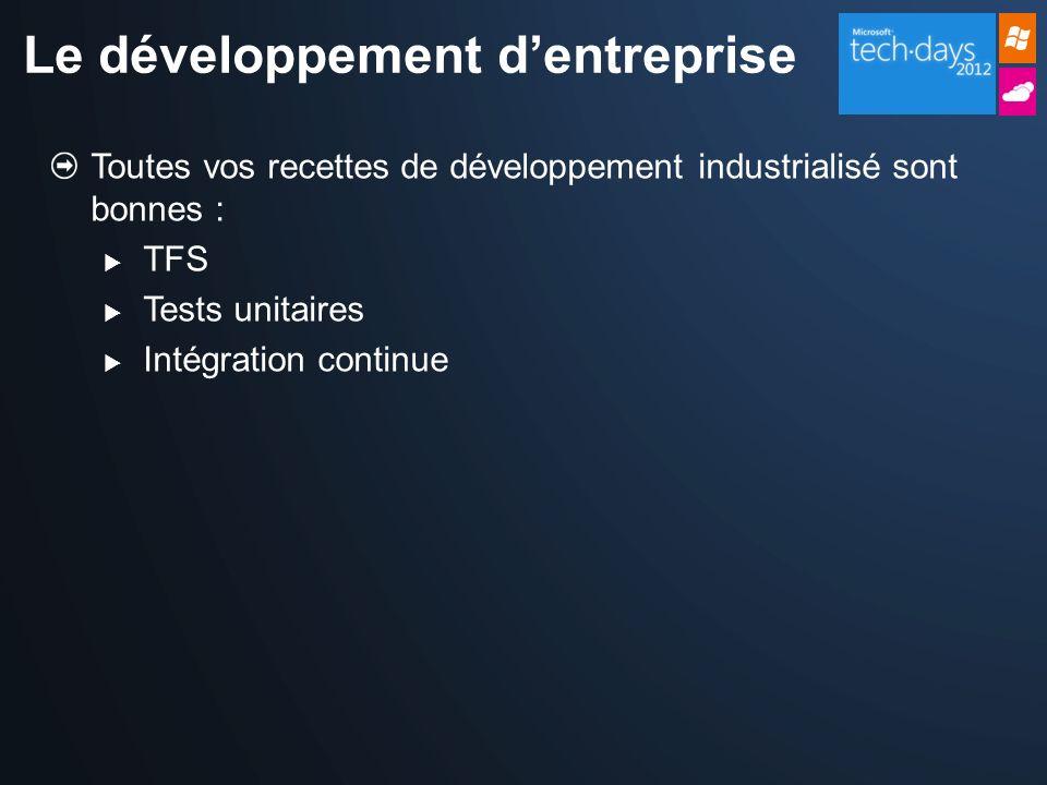 Toutes vos recettes de développement industrialisé sont bonnes : TFS Tests unitaires Intégration continue Le développement dentreprise