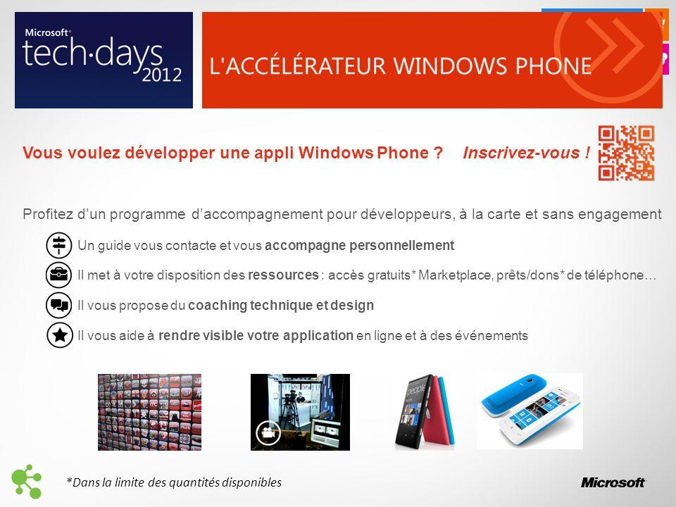 Vous voulez développer une appli Windows Phone . Inscrivez-vous .