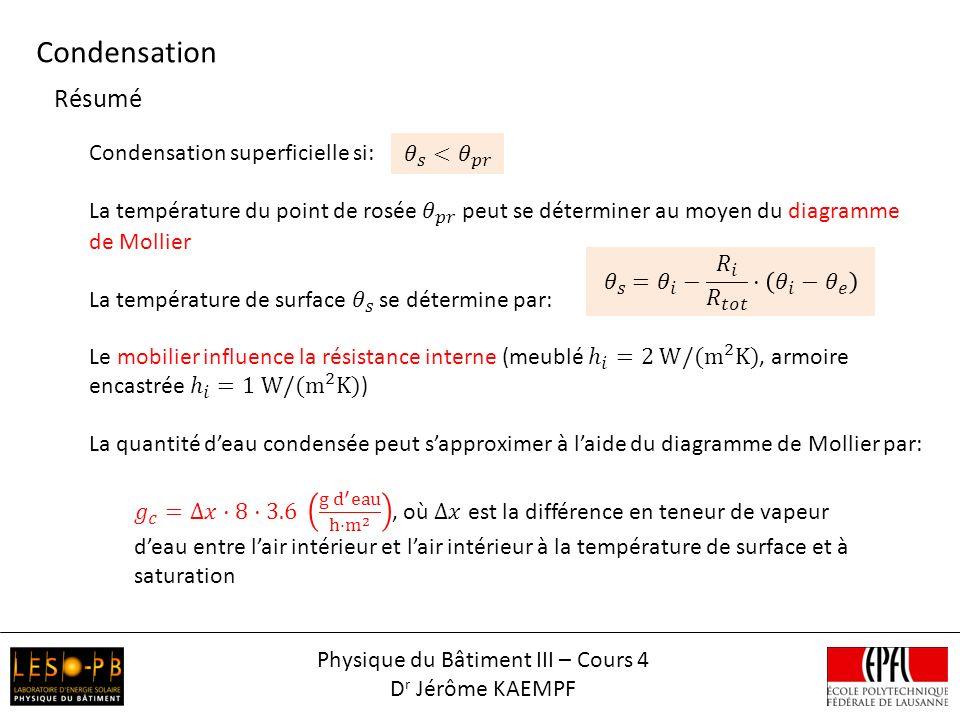 Résumé Condensation Physique du Bâtiment III – Cours 4 D r Jérôme KAEMPF