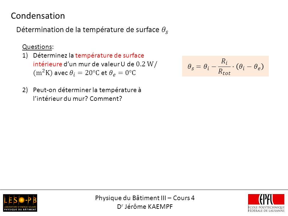 Condensation ext. int. 0xaxe x Physique du Bâtiment III – Cours 4 D r Jérôme KAEMPF
