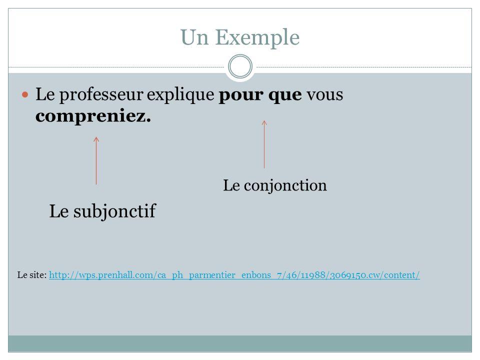 Un Exemple Le professeur explique pour que vous compreniez. Le conjonction Le subjonctif Le site: http://wps.prenhall.com/ca_ph_parmentier_enbons_7/46