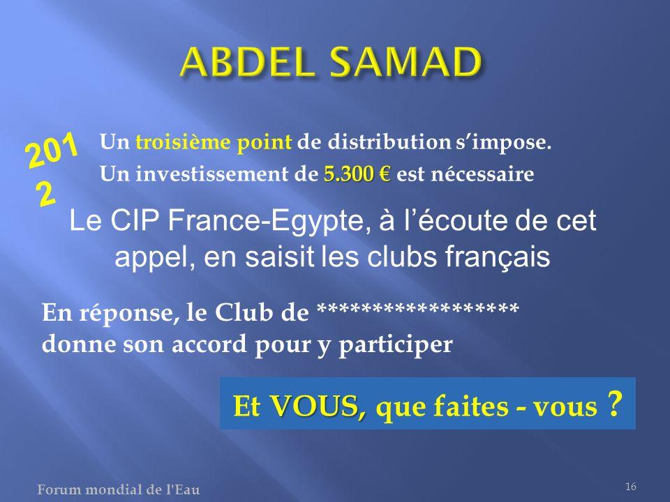 Un troisième point de distribution simpose. 5.300 Un investissement de 5.300 est nécessaire 16 Le CIP France-Egypte, à lécoute de cet appel, en saisit