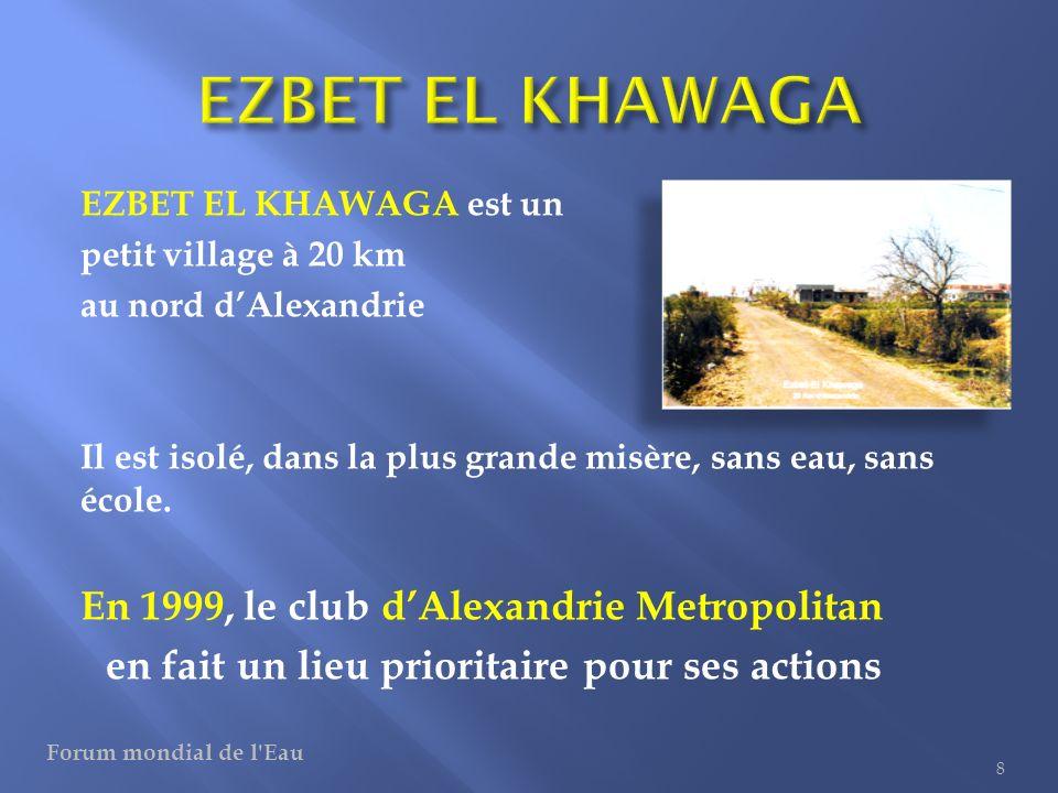 EZBET EL KHAWAGA est un petit village à 20 km au nord dAlexandrie Il est isolé, dans la plus grande misère, sans eau, sans école. En 1999, le club dAl
