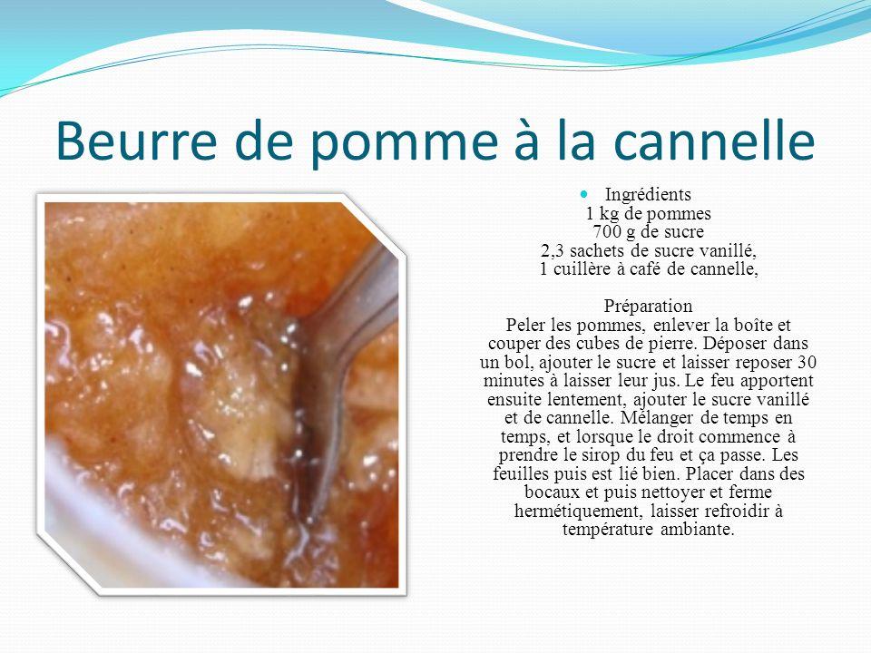 Beurre de pomme à la cannelle Ingrédients 1 kg de pommes 700 g de sucre 2,3 sachets de sucre vanillé, 1 cuillère à café de cannelle, Préparation Peler