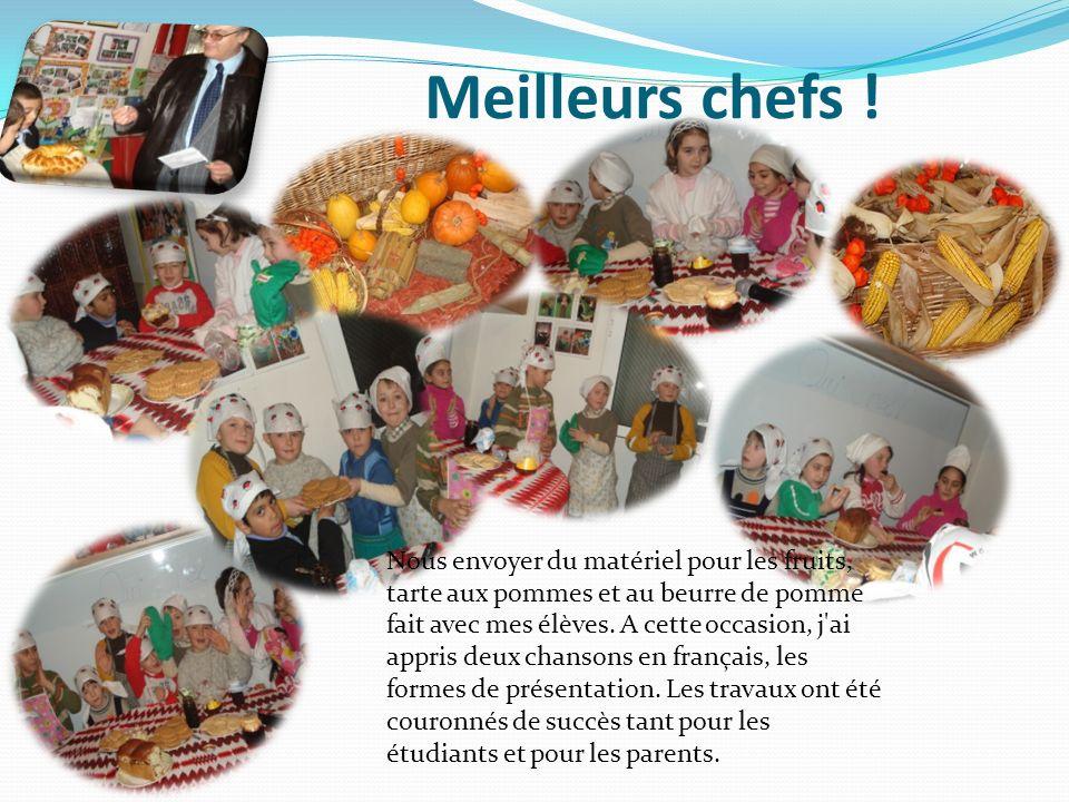 Meilleurs chefs ! Nous envoyer du matériel pour les fruits, tarte aux pommes et au beurre de pomme fait avec mes élèves. A cette occasion, j'ai appris