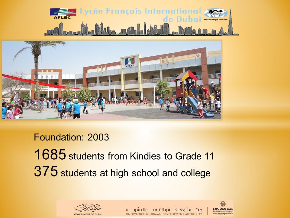 Foundation: 40 years ago, in 1973, in Sharjah Now 3 locations and next year: 4 locations: in Sharjah, Oud Metha and Academic City 2100 students from Kindies to Year 12 979 students at High school and college Lycée français international Georges POMPIDOU