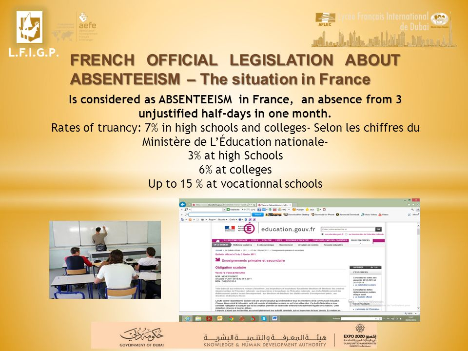 Is considered as ABSENTEEISM in France, an absence from 3 unjustified half-days in one month. Rates of truancy: 7% in high schools and colleges- Selon