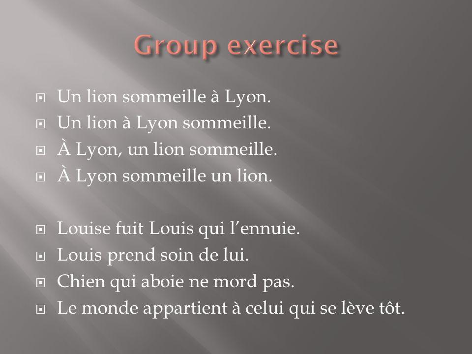 Un lion sommeille à Lyon.Un lion à Lyon sommeille.