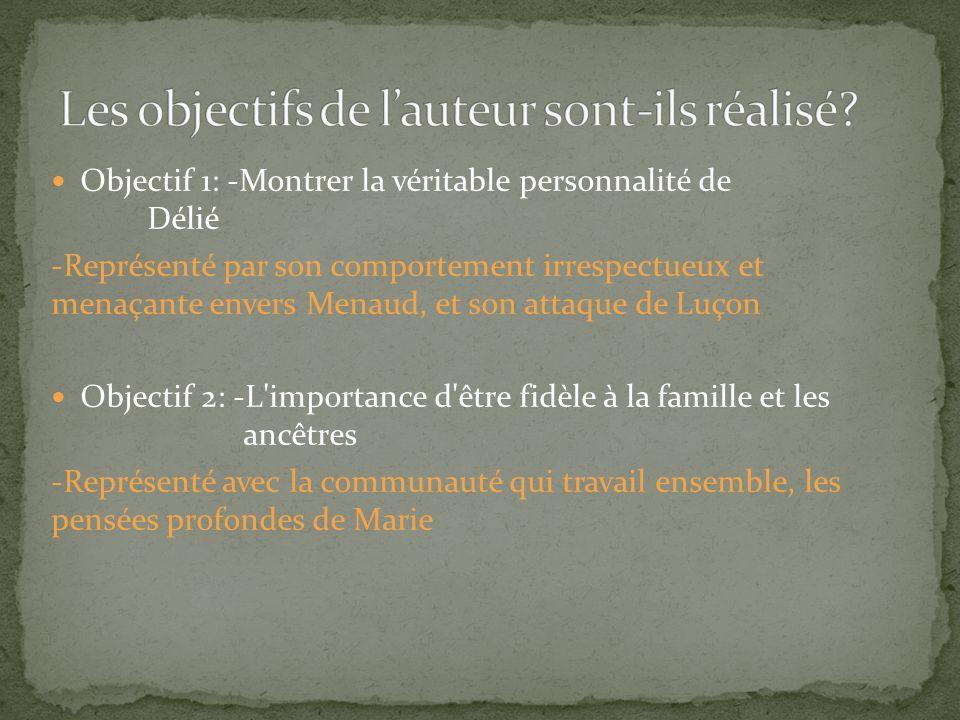 Objectif 1: -Montrer la véritable personnalité de Délié -Représenté par son comportement irrespectueux et menaçante envers Menaud, et son attaque de L