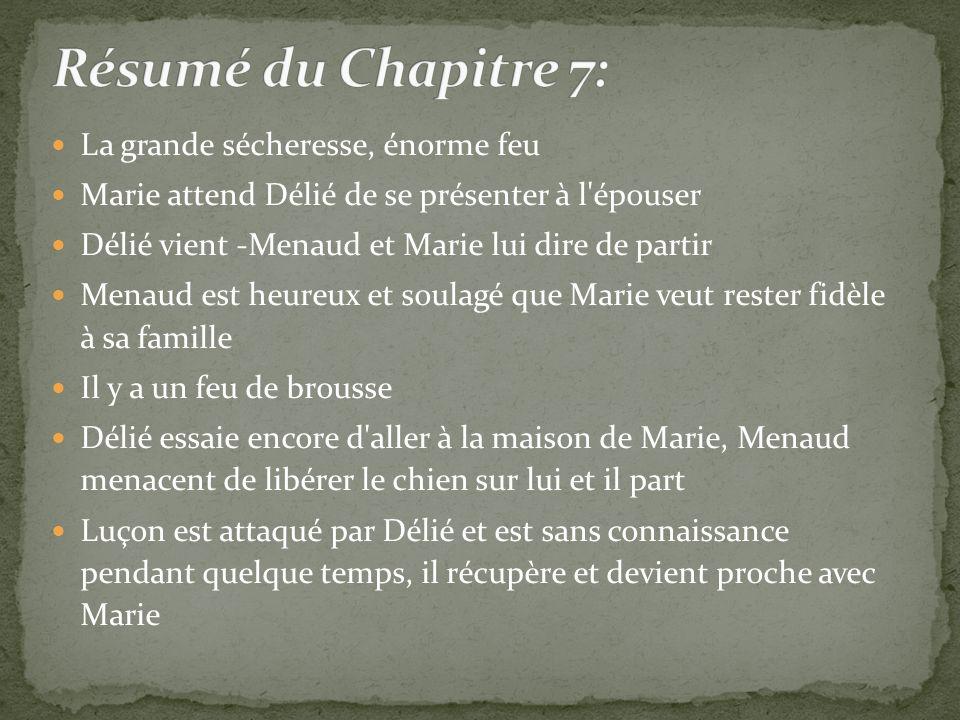La grande sécheresse, énorme feu Marie attend Délié de se présenter à l'épouser Délié vient -Menaud et Marie lui dire de partir Menaud est heureux et