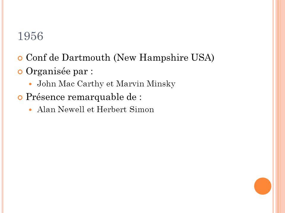 1956 Conf de Dartmouth (New Hampshire USA) Organisée par : John Mac Carthy et Marvin Minsky Présence remarquable de : Alan Newell et Herbert Simon