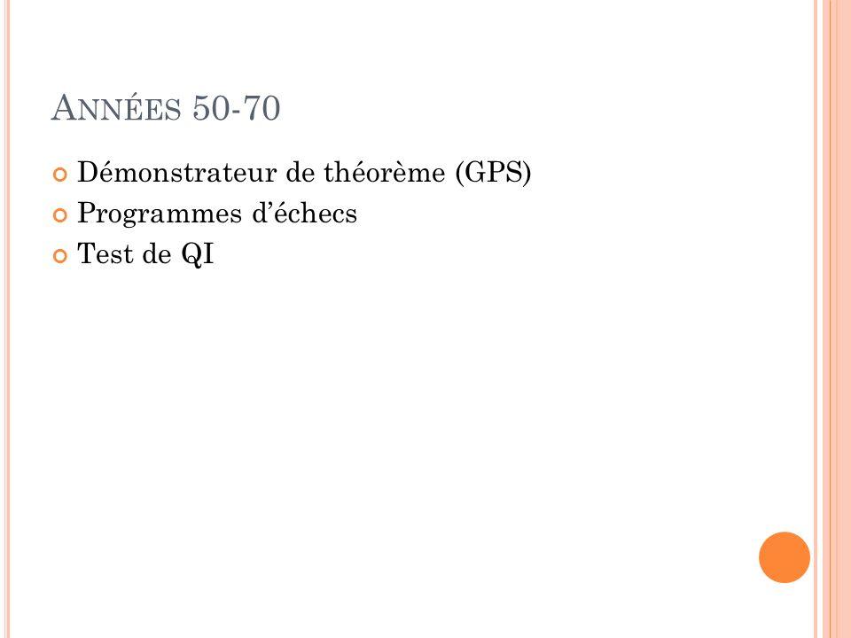 A NNÉES 50-70 Démonstrateur de théorème (GPS) Programmes déchecs Test de QI