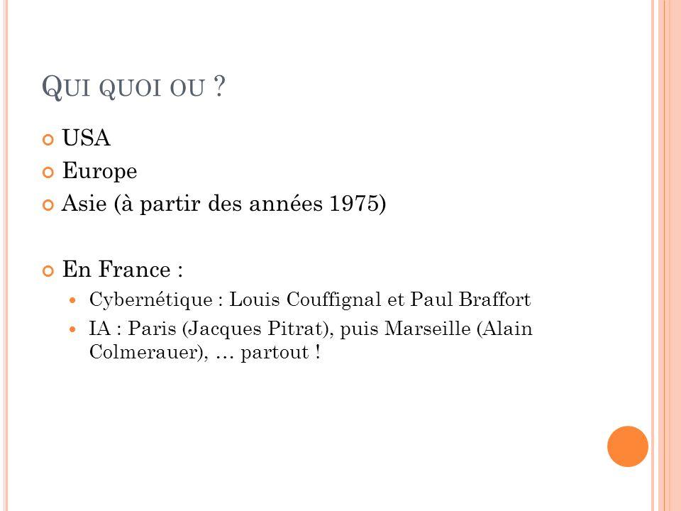 Q UI QUOI OU ? USA Europe Asie (à partir des années 1975) En France : Cybernétique : Louis Couffignal et Paul Braffort IA : Paris (Jacques Pitrat), pu
